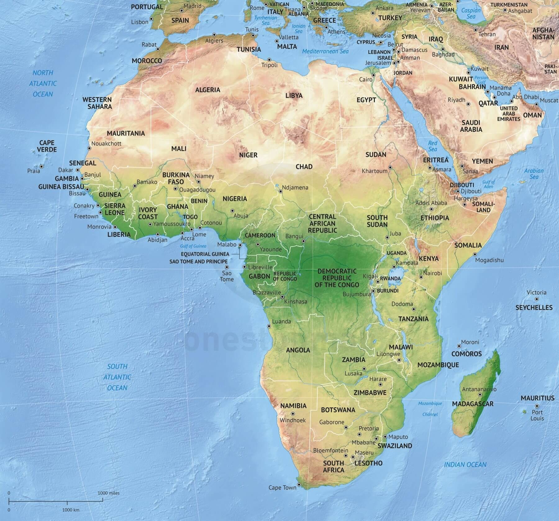 Vector Map Africa Continent Shaded Relief