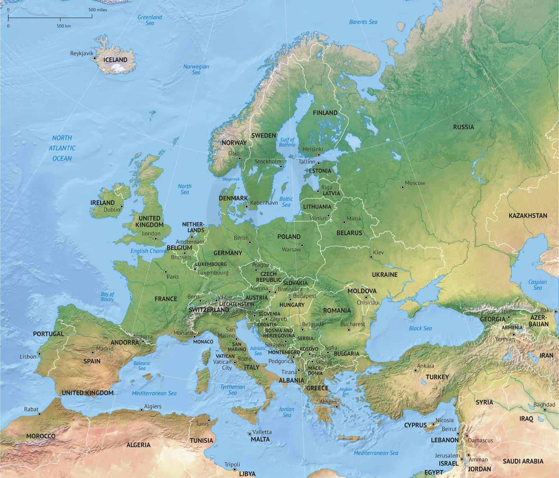 Vector Map Europe Continent Shaded Relief