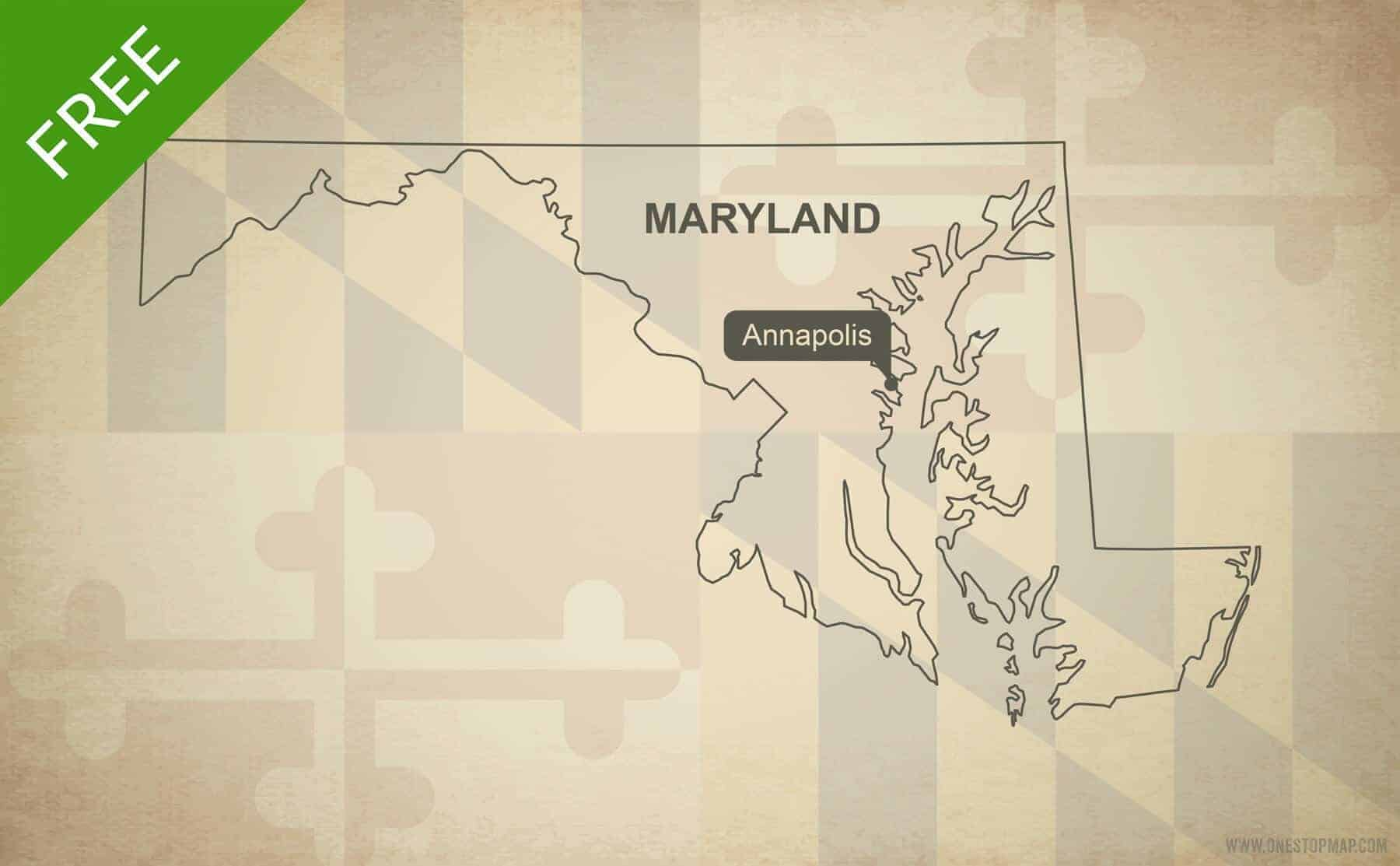 Free Vector Map Of Maryland Outline
