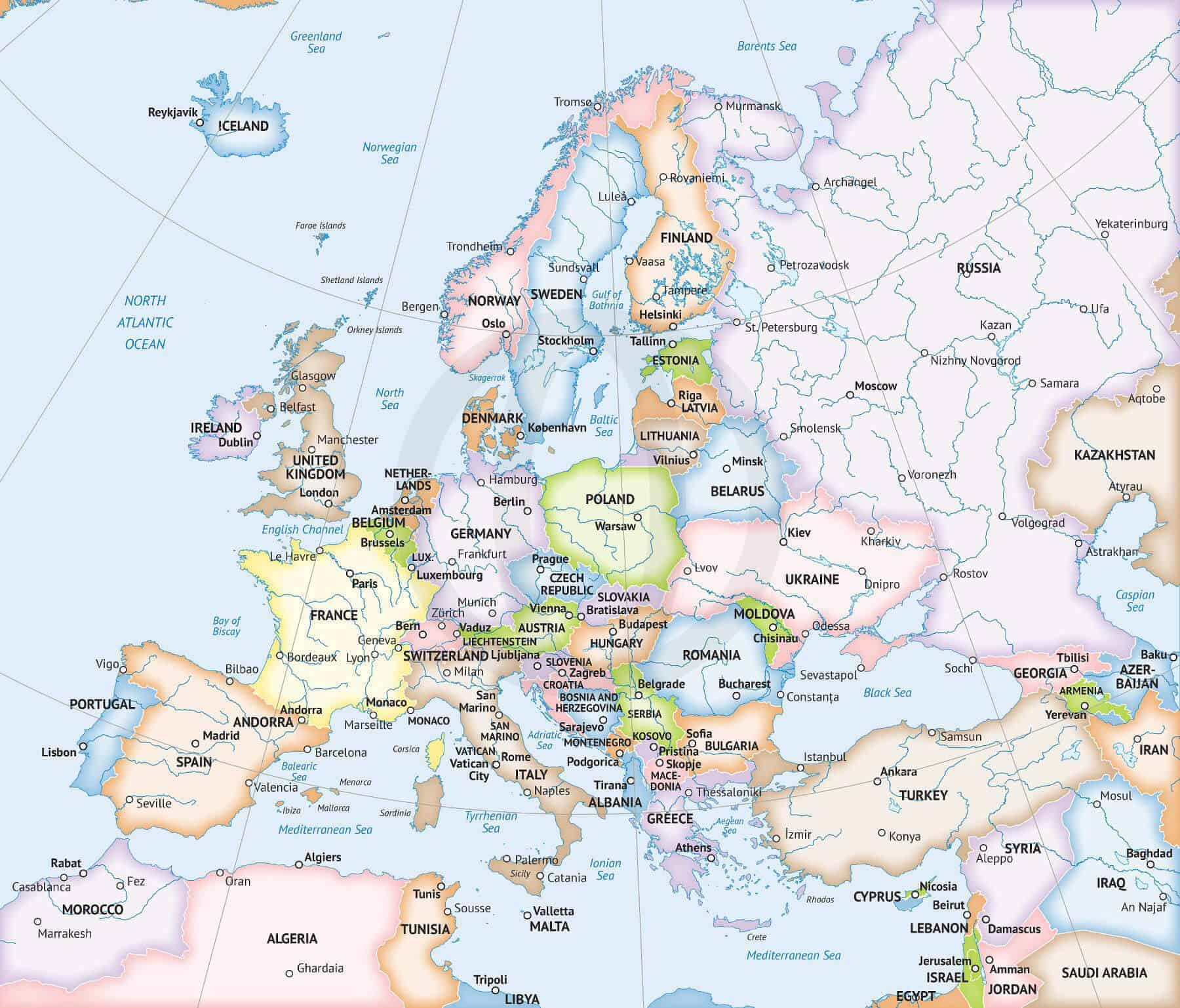 Vector Map Of Europe Continent Political