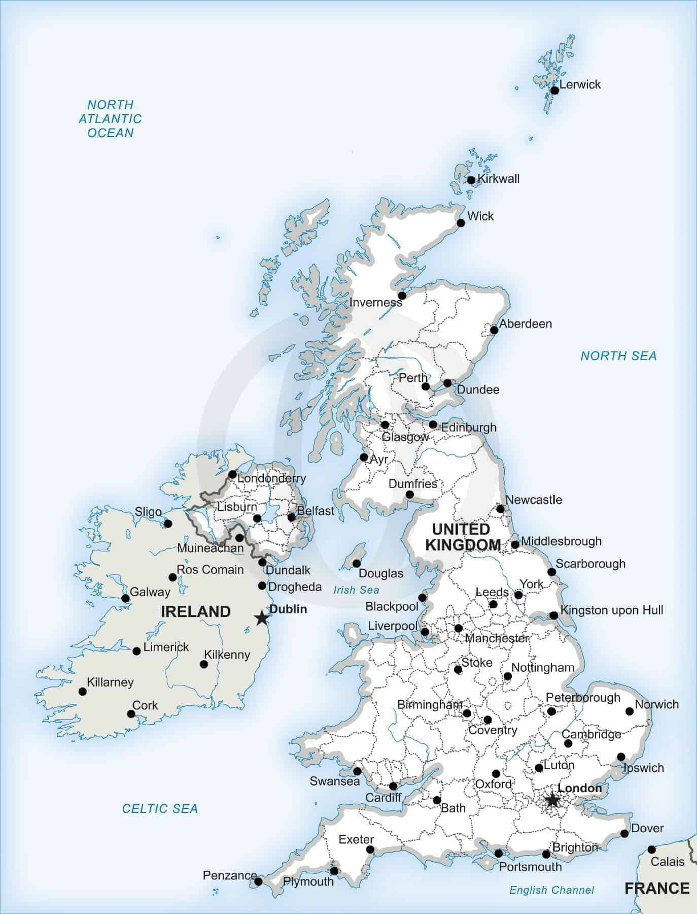 Vector Map Of The British Isles Political