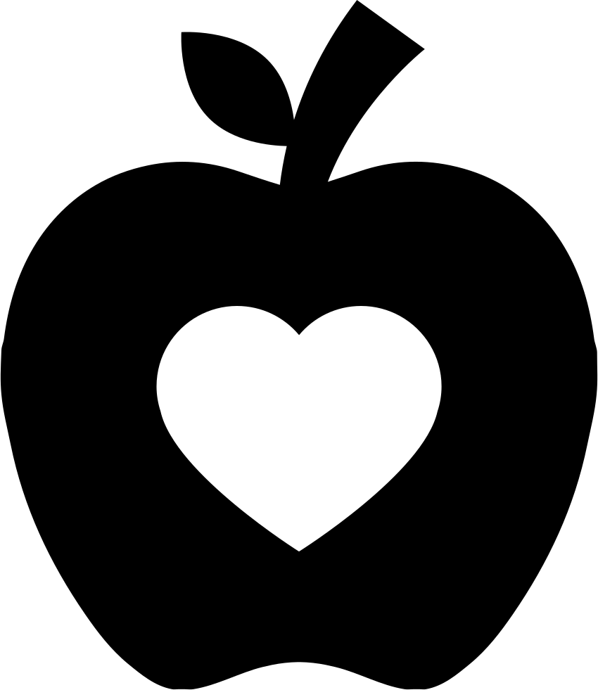 Download Apple Silhouette With Heart Shape Svg Png Icon Free ...