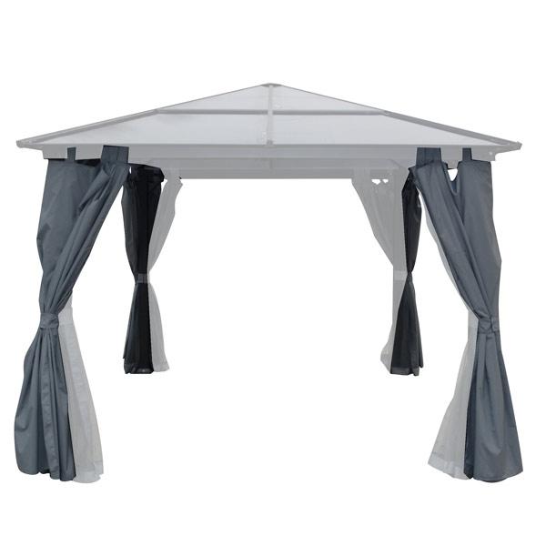 rideaux pour tonnelle autoportante luchon gris clair 300 x 300 cm