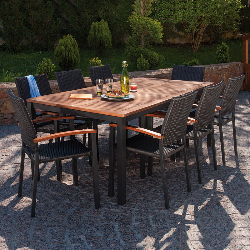 salon de jardin table barcelona 200 cm 8 fauteuils resine tressee barcelona