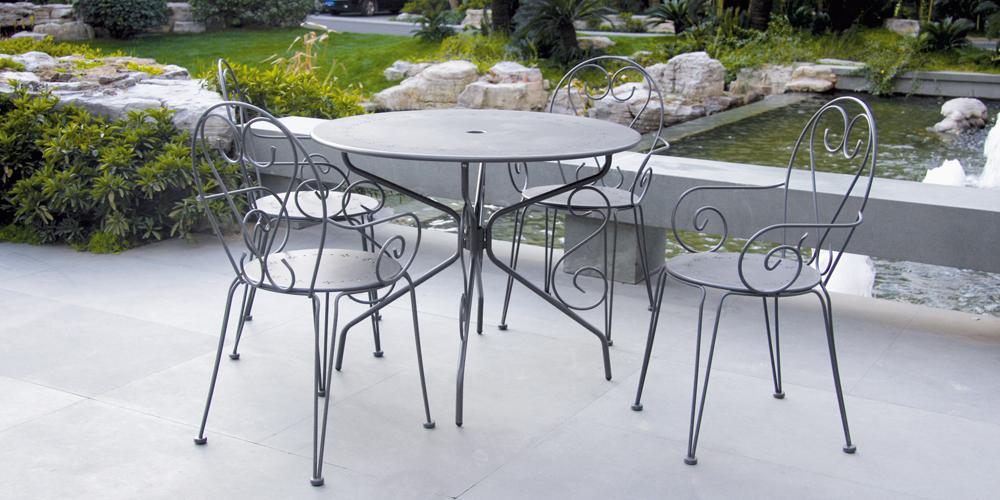 salon de jardin metal gris romance 1 table ronde 4 fauteuils