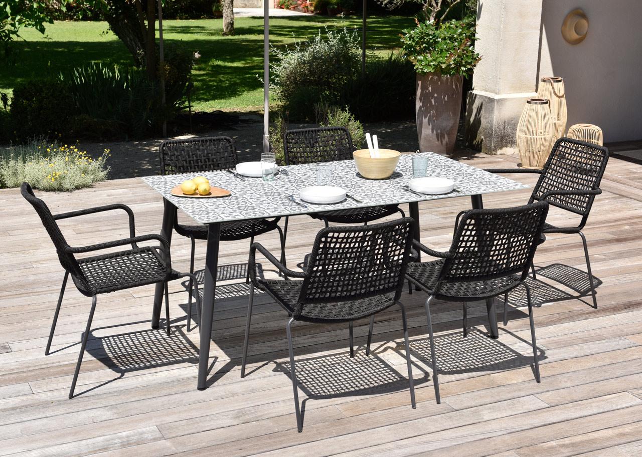salon de jardin table carreaux de ciments minola 160 cm 6 fauteuils esterel