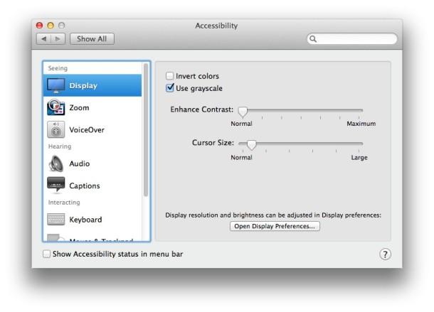 Параметры отображения специальных возможностей Mac в OS X