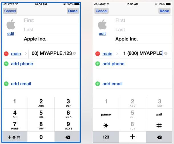 Добавить добавочный номер для автоматического набора к контактному номеру на iPhone