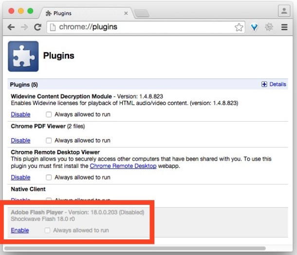 Отключить Adobe Flash Player в браузере Chrome