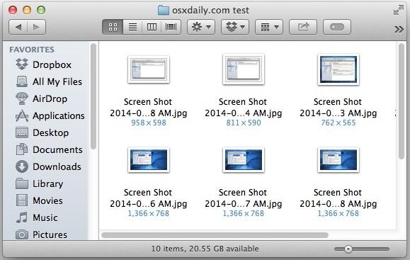 Показывать размеры изображения под файлами в Mac OS X