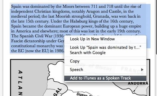 Аудиофайл преобразования текста в речь OS X Lion