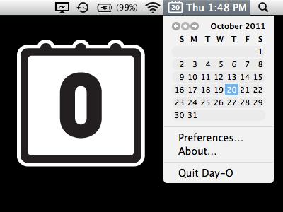 Day-O - это бесплатный календарь в строке меню и замена часов для Mac OS X