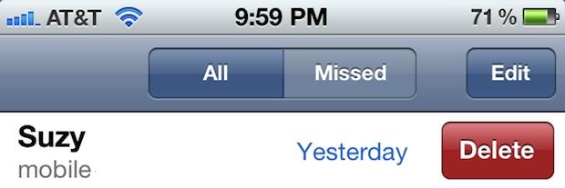 Удаление телефонного звонка из журнала вызовов iPhone смахиванием