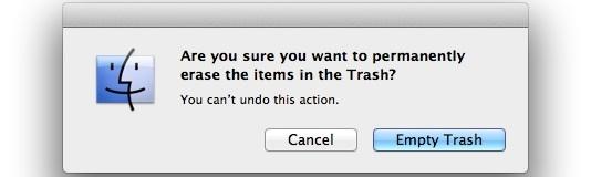 Предупреждение о пустой корзине в Mac OS X