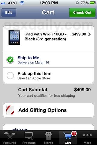 Купите iPad 3 в приложении Apple Store для iOS