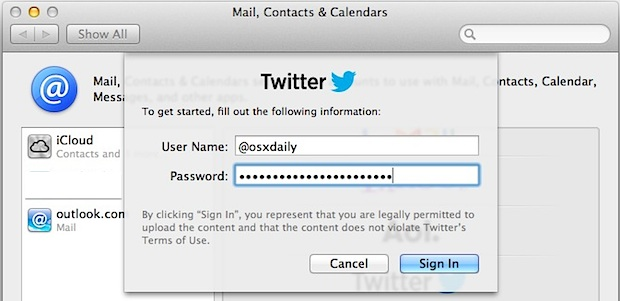 Set up Twitter in OS X