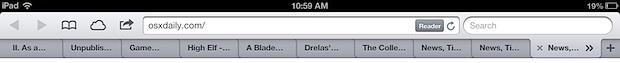 Вкладки Safari на iPad