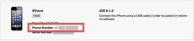 Номер телефона iPhone отображается в iTunes