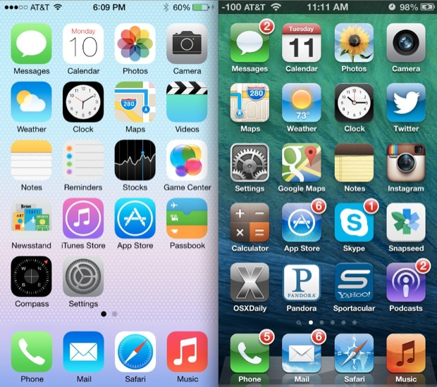 iOS 6 vs iOS 7 home screens