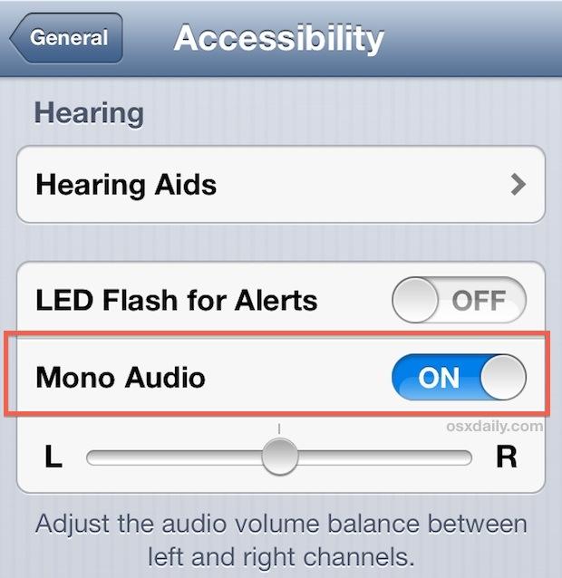 Используйте Mono Audio в iOS, когда динамики или наушники перестают работать должным образом