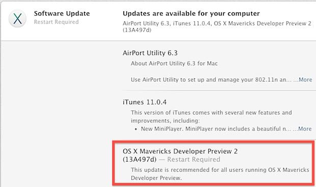 Предварительная версия 2 для разработчиков OS X Mavericks