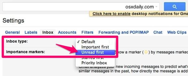 Показывать сначала непрочитанное письмо в Gmail