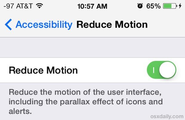 iOS7 减少动态效果开关