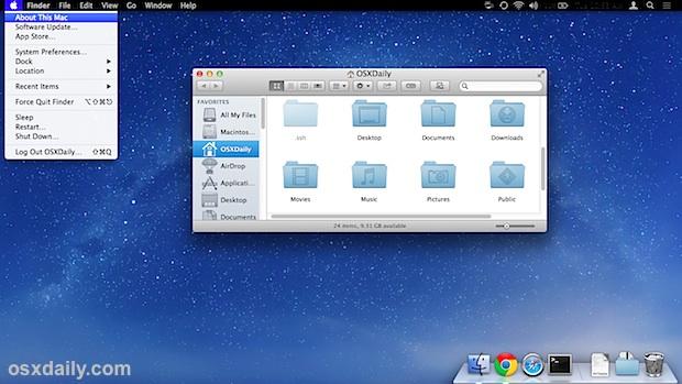 Черная строка меню в OS X Mavericks