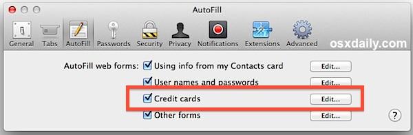 Включено автозаполнение кредитных карт Safari