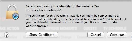 Safari не может подтвердить личность ошибки веб-сайта