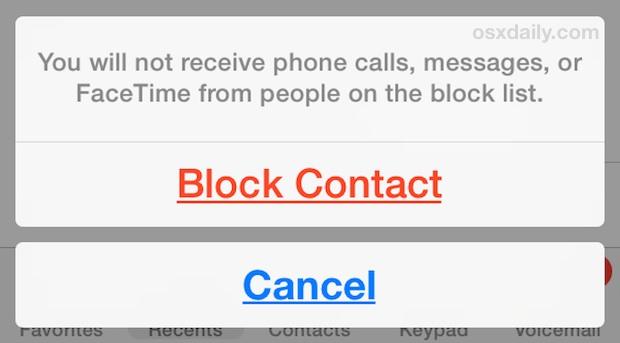 Заблокировать контакт на iPhone