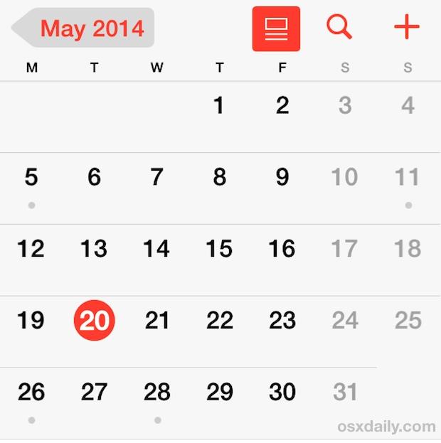 Начните неделю в понедельник в календаре для iPhone