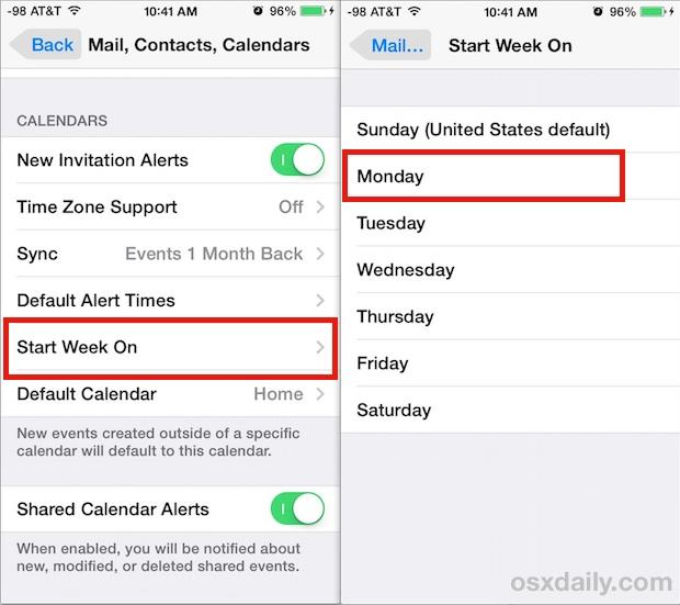 Начинайте неделю в любой день в Календаре для iOS