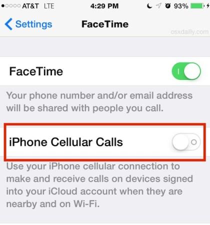Настройка сотовых вызовов iPhone