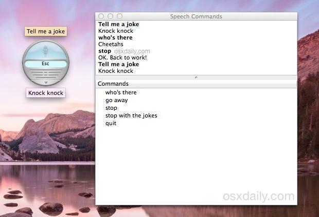 Расскажи мне анекдот с говорящими элементами в Mac OS X
