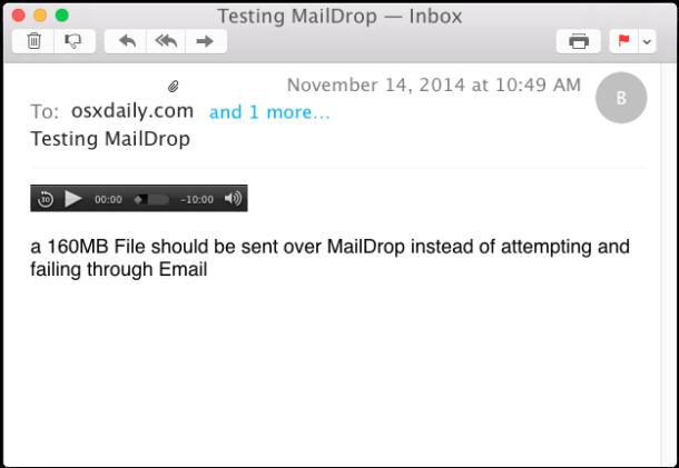 Получение файла Mail Drop в приложении Mac OS X Mail