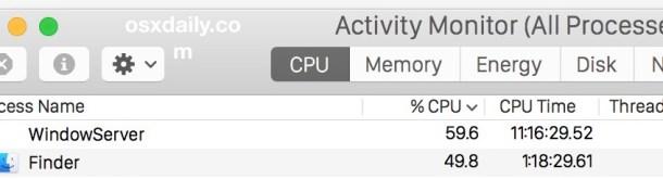 ЦП Finder и ЦП WindowServer вместе в Mac OS X