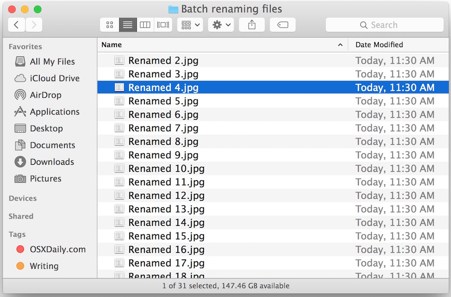Batch renamed files in Mac OS X after running through Finder Rename Item tool