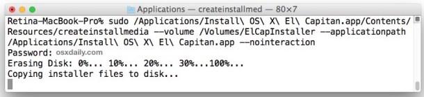Создание загрузочного установочного диска OS X El Capitan