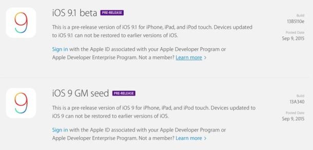 iOS 9 GM и iOS 9.1 beta 1