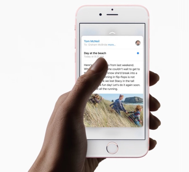 iPhone with 3d Touch enabled, peaking at an email