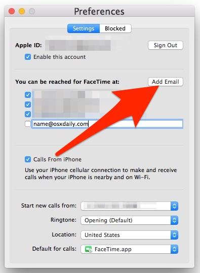 Добавьте новое письмо FaceTime на Mac