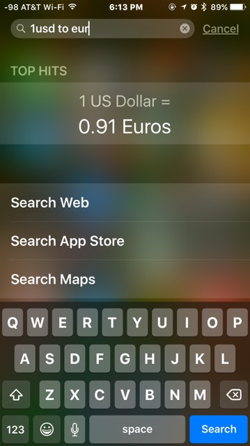 Конвертация валюты в центре внимания на iPhone