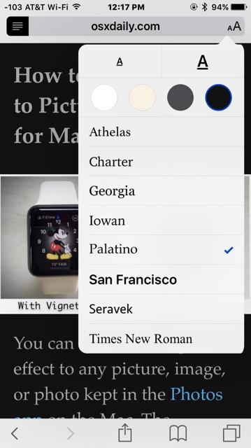 Как увеличить размер шрифта и изменить шрифт в Safari для iPhone