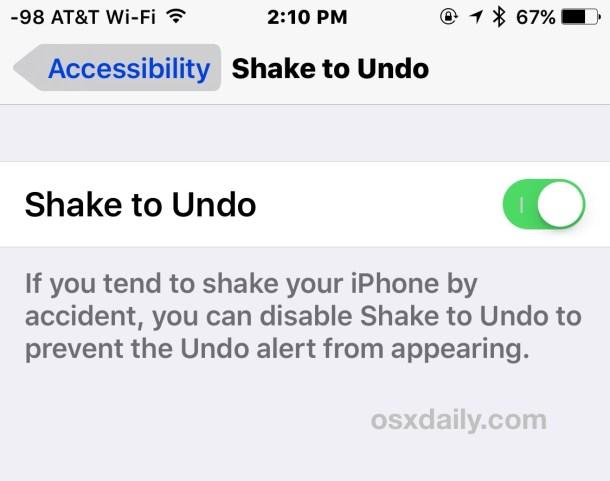 Отключить или включить встряхивание для отмены в iOS
