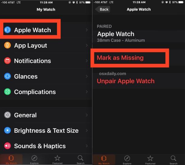 Отметьте Apple Watch как отсутствующие, чтобы включить блокировку активации