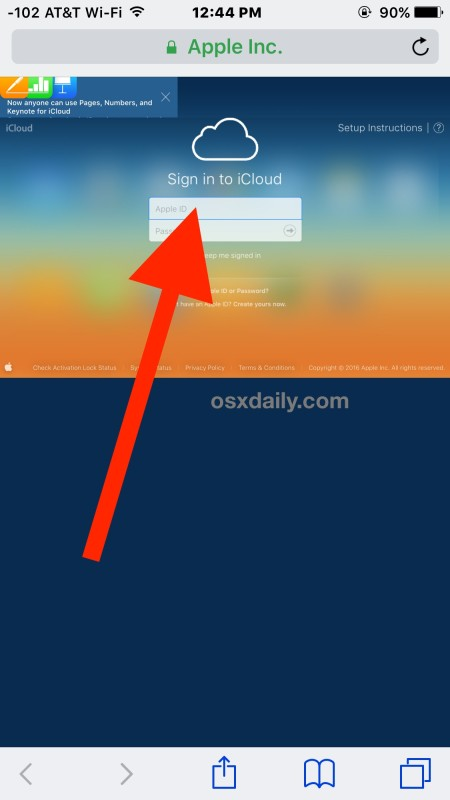 Страница входа в iCloud.com, доступная на iPhone или iPad