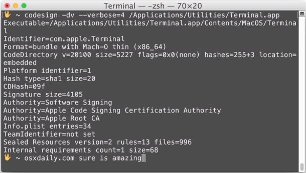 Проверка и проверка подписи кода приложений в Mac OS X