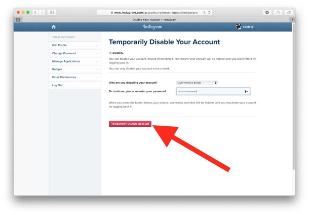 How to temporarily disable Instagram account and deactivate it