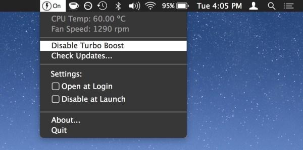 Как отключить Turbo Boost на Mac